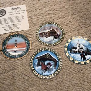 Authentic P. Buckley Moss Christmas ornaments